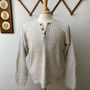 Vintage Ribbed Knit Henley Sweater